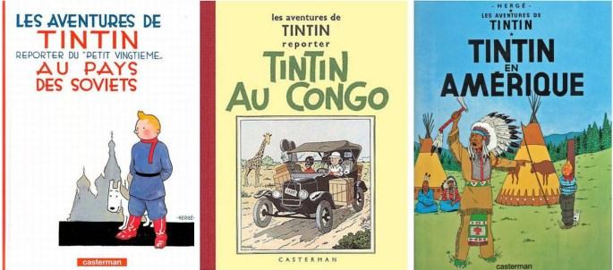 Tintins tre första äventyr, utgivna av förlaget ©Casterman