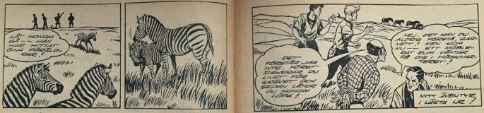 Avslutningen av äventyret i Bob och Frank nr 21, 1954