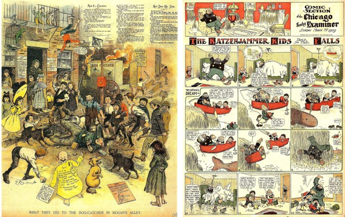 R. F. Outcault's The Yellow Kid från 20 september 1896, och The Katzenjammer Kids av Rudolf Dirks från 7 mars 1909