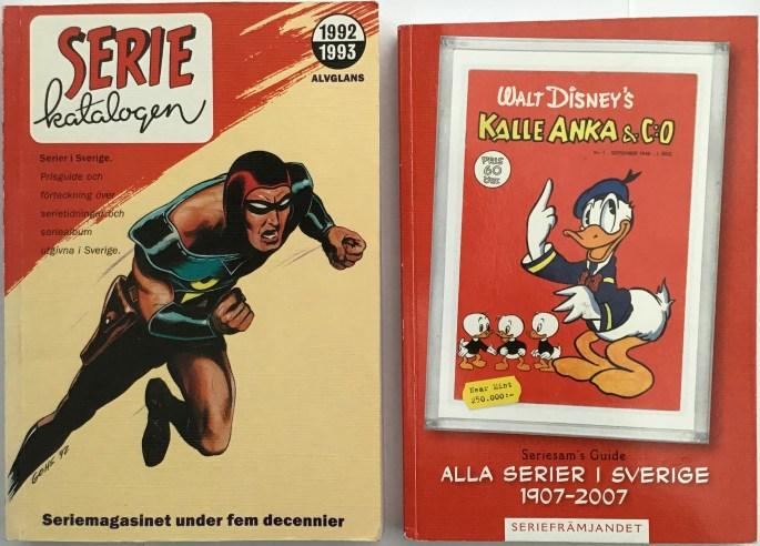 Seriekatalogen 1992 och 2008 utgiven av Alvglans förlag resp. Seriefrämjandet