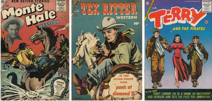 Serietidningar med Monte Hale, Tex Ritter och Terry and the Pirates från ©Charlton Comics