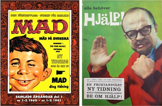 Mad nr 1, 1960 och Hjälp nr 1, 1962 från ©Williams Förlag