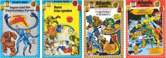 Atlantic-serien nr 1-4, 1978 med Marvel-serier utgivna av Atlantic förlag