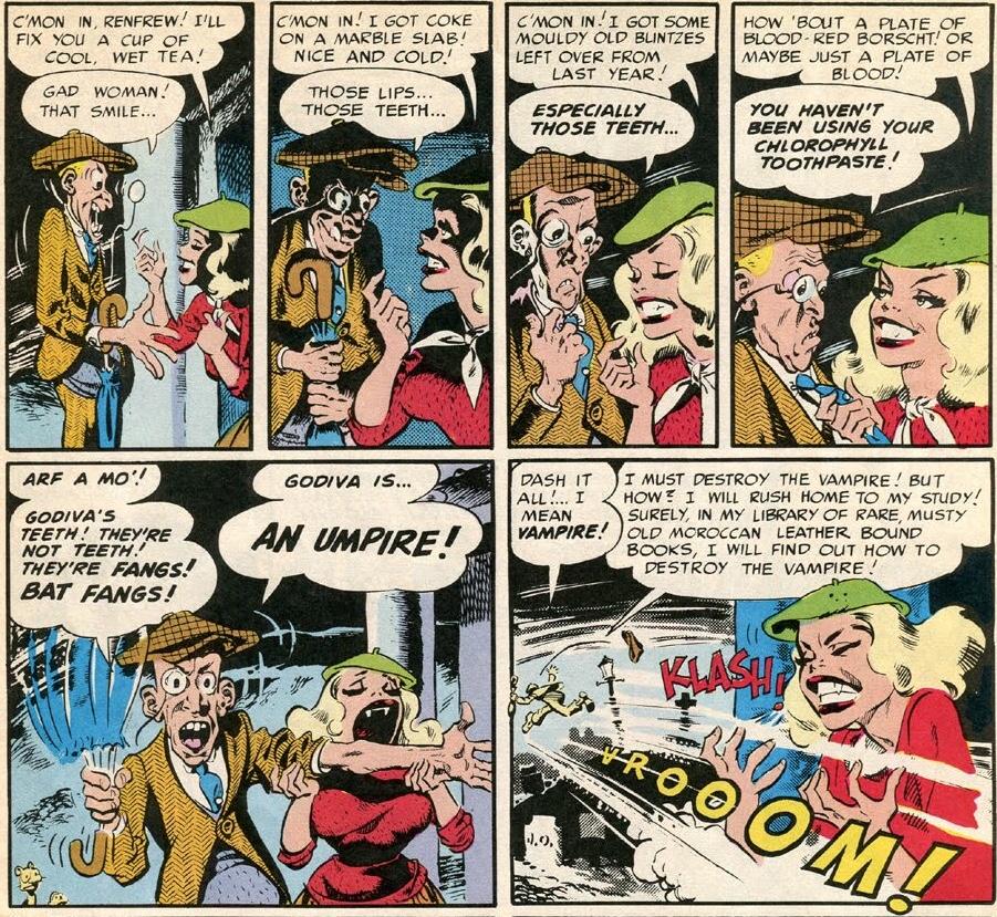 Några rutor ur V-Vampires, av Harvey Kurtzman och Wallace Wood. ©E.C. Comics