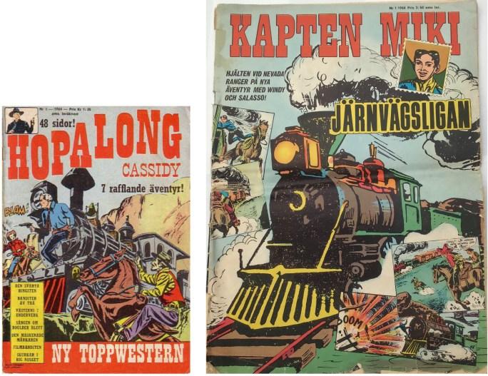 Förvirrande lika omslag: Hopalong Cassidy nr 1, 1964 och Kapten Miki nr 1, 1966