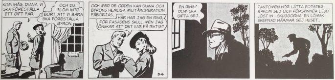 Första stripp ur episoden På hemligt uppdrag i Fantomen 1936-1996