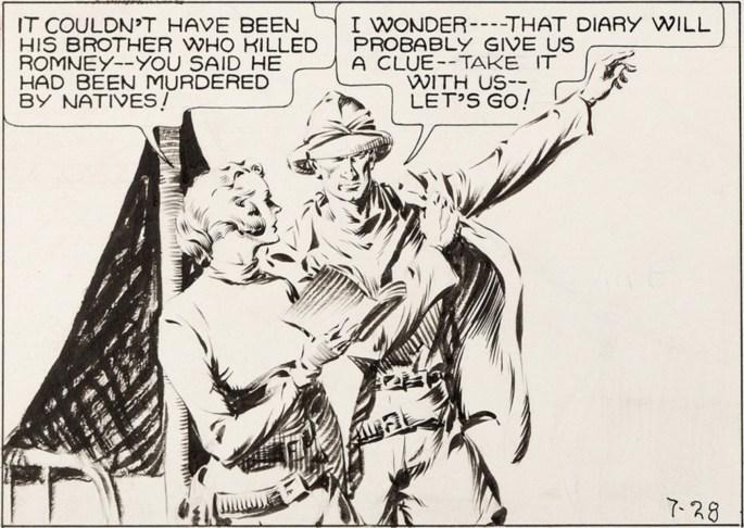 Joan och Jim finner en dagbok i lägret (ur ett original från strippen 28 juli 1935). ©KFS