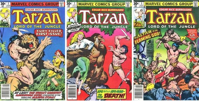 Omslag till Tarzan #1-3, utgiven av Marvel