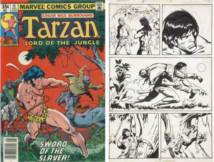 Omslag till Tarzan #15 (1978) och ett original av John Buscema till en sida i tidningen. ©Marvel