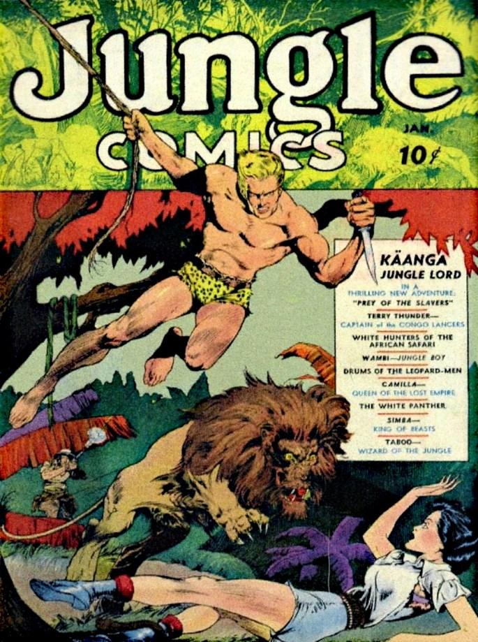 Jungle Comics #1, med omslag av Lou Fine, med en Kaänga-serie där han räddar Ann ur en knipa och berättar för henne hur det kom sig att han lever i djungeln