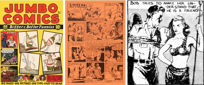Jumbo Comics #1 publicerade svart/vita serier på färgat papper, men exkluderar man bakgrundsfärgen får man fram bilden på Sheena till höger.