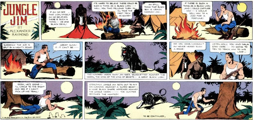 Den inledande söndagssidan från 18 mars 1934 till episoden om det svarta lejonet, andra äventyret i Jungle Jim episod-guide