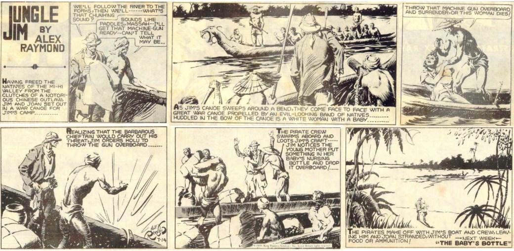 Den inledande söndagssidan från 14 juli 1935 ur episoden bortrövandet av kvinnan med barn.