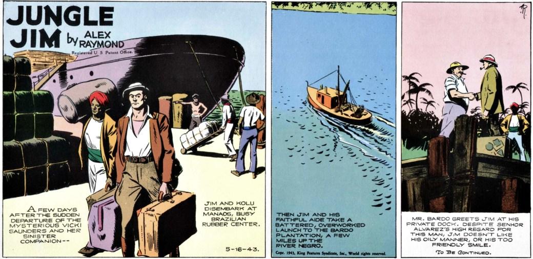 Söndagsstripp från 16 maj 1943, där Jim och Kolu seglar uppför Amazonfloden.