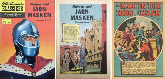Mannen med järnmasken, en nytecknad variant från 1958, och inte den första editionen av The man in the iron mask från 1948 (t.h.). ©IK/Gilberton