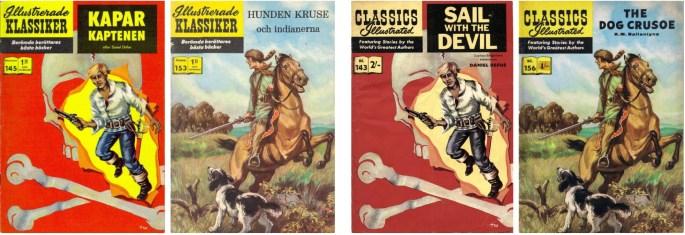 Omslag till Illustrerade klassiker nr 145 och 153, och deras brittiska förlagor. ©IK/T&P