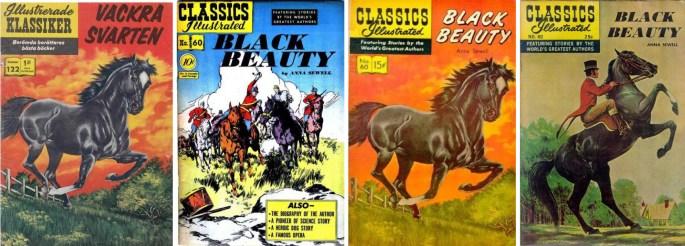 Vackra Svarten i Illustrerade klassiker, och tre förlagor ur Classics Illustrated från 1949, 1960 och den senare med nytt omslag av Albert Micale från 1968.
