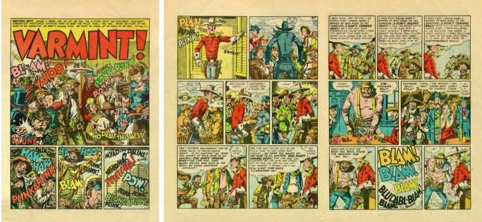 De inledande tre sidorna i en serie för Mad #1 från 1952.
