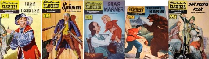 Fem nummer av Illustrerade klassiker, tecknade av Arnold Hicks. ©IK/Gilberton