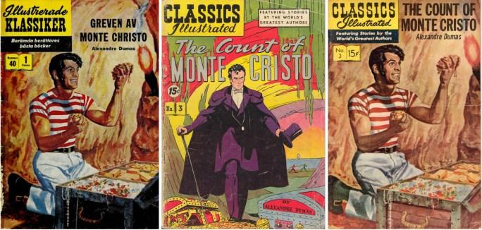 Illustrerade klassiker nr 40, med den första versionen från 1942 i mitten, och den nytecknade editionen t.h. ©IK/Gilberton