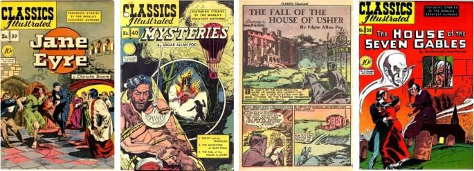 Classics Illustrated #39, #40 med första sida av Griffiths, och #52. ©Gilberton