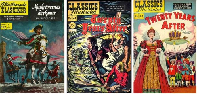 Omslag av Doug Rosa. Originalomslag av Robert C. Burns (mitten , från september 1947). Ny version av omslaget av Henry C. Kiefer (t.h.) från augusti 1949.