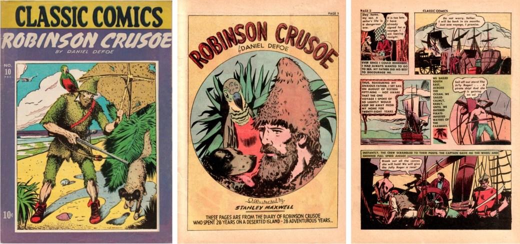 Omslag och inledande sidor av Robinson Crusoe, tecknad av Stanley Maxwell. ©Gilberton
