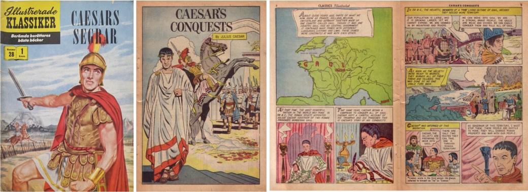 Illustrerade klassiker 21-30: Omslag till Illustrerade klassiker nr 28, och inledande sidor ur Classics Illustrated #130. ©IK/Gilberton