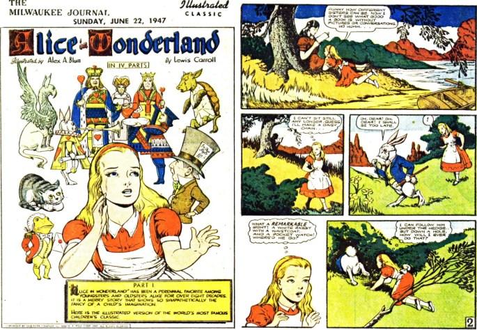Illustrerade klassiker som söndagsbilaga: Inledande två sidor ur Alice in Wonderland, från 22 juni, 1947. ©Gilberton