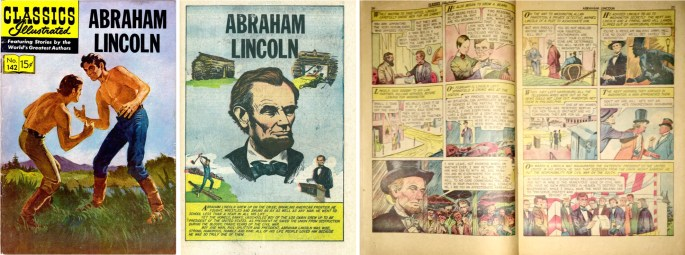 Omslag, förstasida och mittuppslag ur Classics Illustrated #142. ©Gilberton