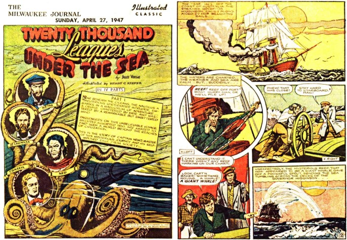Illustrerade klassiker som söndagsbilaga: Inledande två sidor ur 20000 Leagues Under the Sea, från 27 april, 1947. ©Gilberton