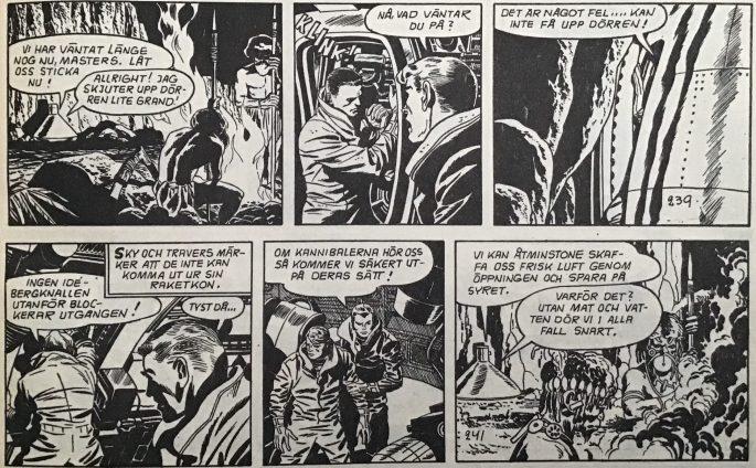 Sista strippen tuschad av Wallace Wood, och första strippen tuschad av Jack & Roz Kirby.