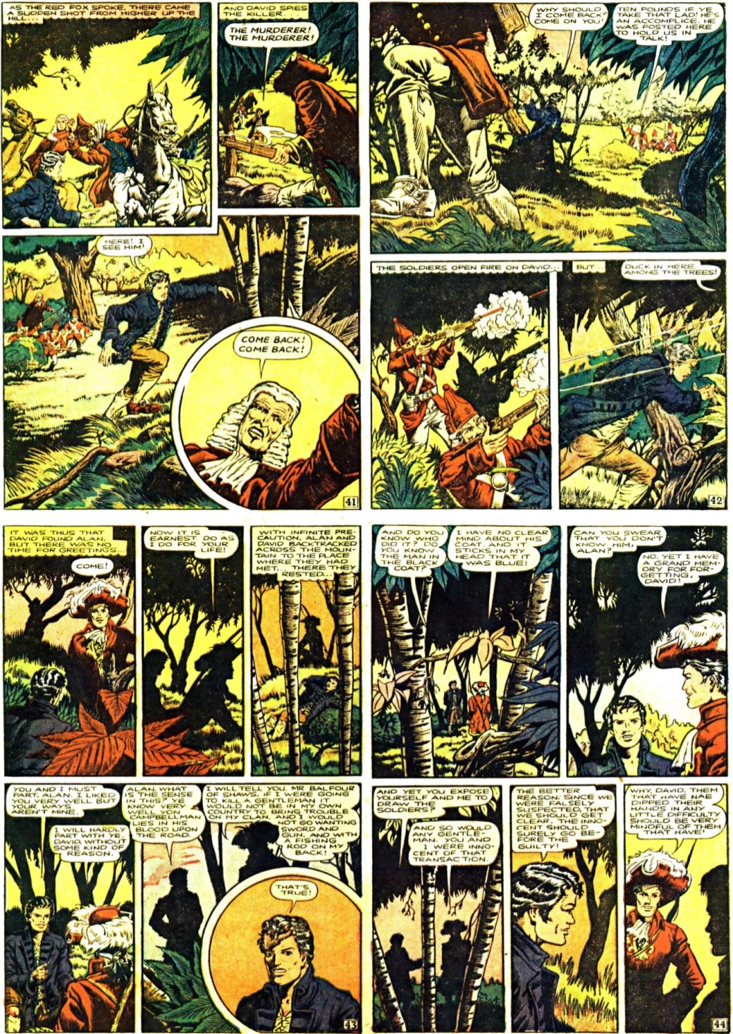 Tredje sidan ur den tredje bilagan (seriesida 41-44) med Kidnapped, från 13 april 1947. En slags Illustrerade klassiker som söndagsbilaga. ©Gilberton
