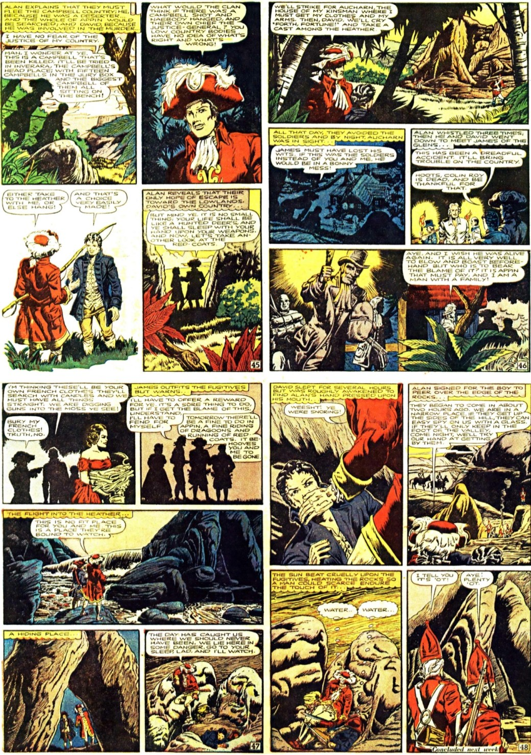 Fjärde sidan ur den tredje bilagan (seriesida 45-48) med Kidnapped, från 13 april 1947. En slags Illustrerade klassiker som söndagsbilaga. ©Gilberton