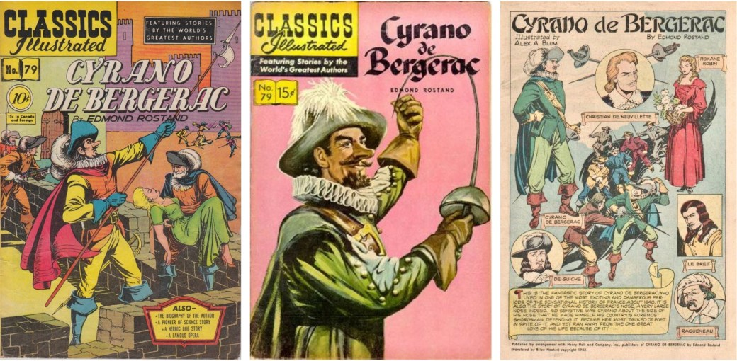 Omslag 1951 och 1957, och förstasida ur Classics Illustrated #79. ©Gilberton
