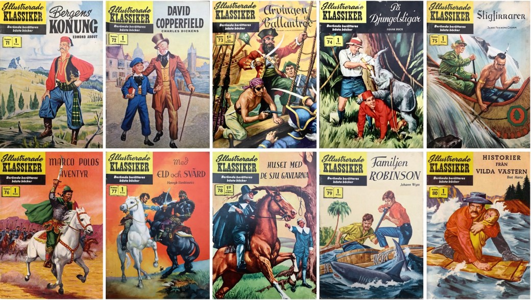 Omslag till Illustrerade klassiker nr 71-80 (1958-59). ©IK/Gilberton