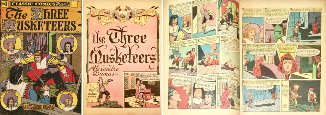 Classic Comics #1: Omslag, förstasida och ett uppslag. ©Elliot