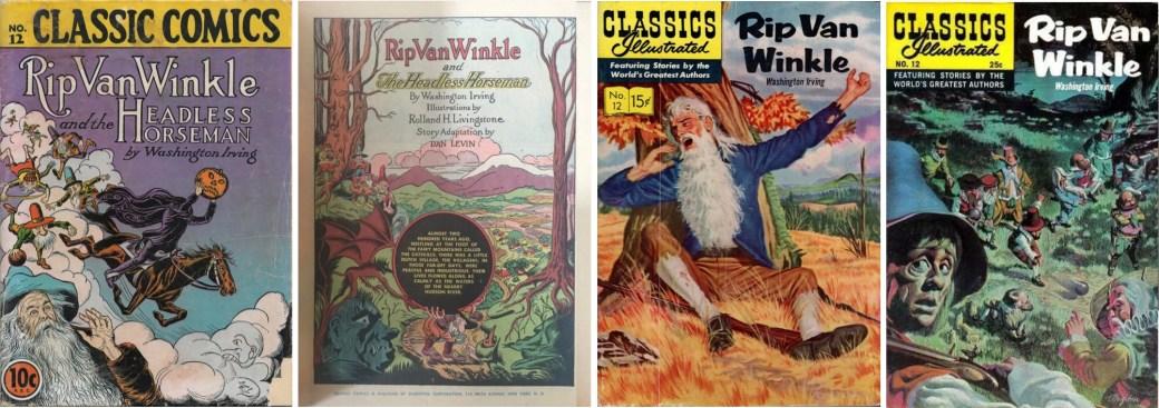 Omslag och förstasida ur Classic Comics #12 (1943), och omslag till Classics Illustrated #12 från 1956 och 1968. ©Gilberton