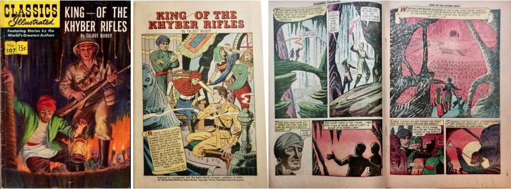 Omslag, förstasida och mittuppslag Classics Illustrated #107. ©Gilberton