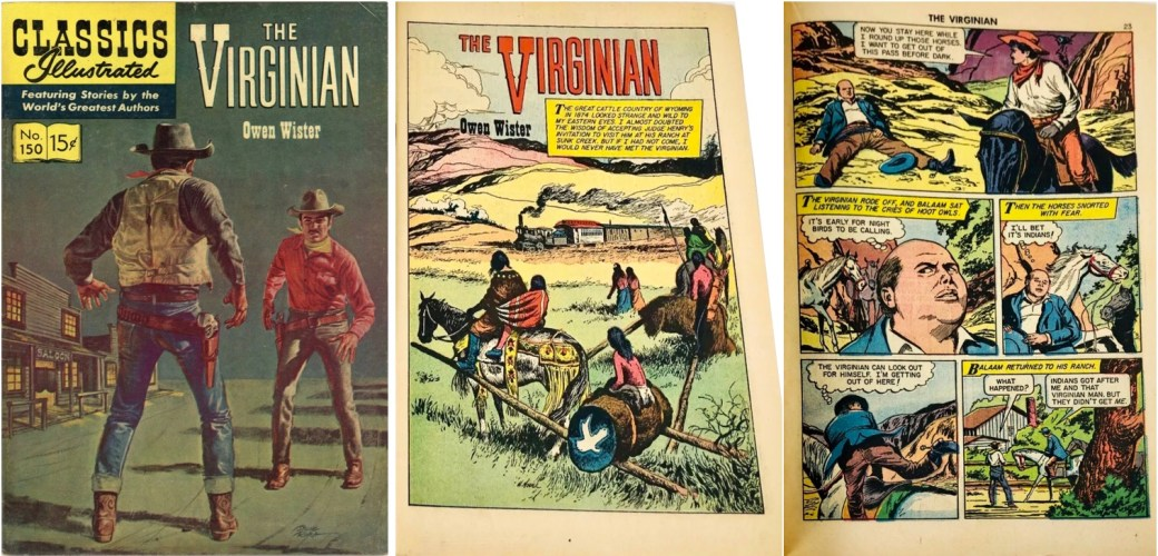 Omslag, förstasida och ytterligare en sida ur inlagan ur Classics Illustrated #150. ©Gilberton
