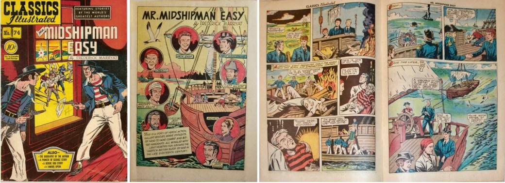 Omslag, förstasida och ett uppslag ur Classics Illustrated #74. ©Gilberton