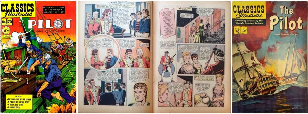 Classics Illustrated #70: Omslag och ett uppslag från 1950 och omslag från 1960. ©Gilberton
