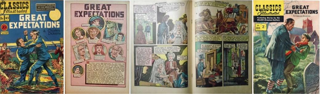 Omslag, förstasida och mittuppslag ur Classics Illustrated #43, och omslag till brittiska CI #135. ©Gilberton/T&P