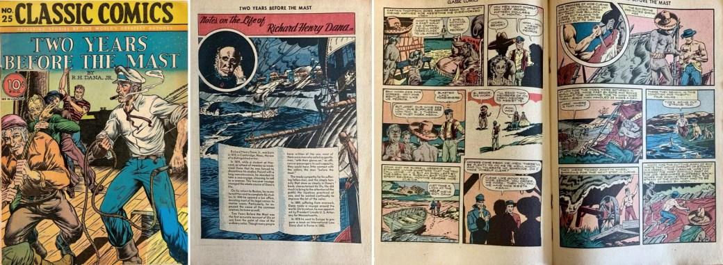 Omslag, förstasida och mittuppslag ur Classic Comics #25. ©Gilberton