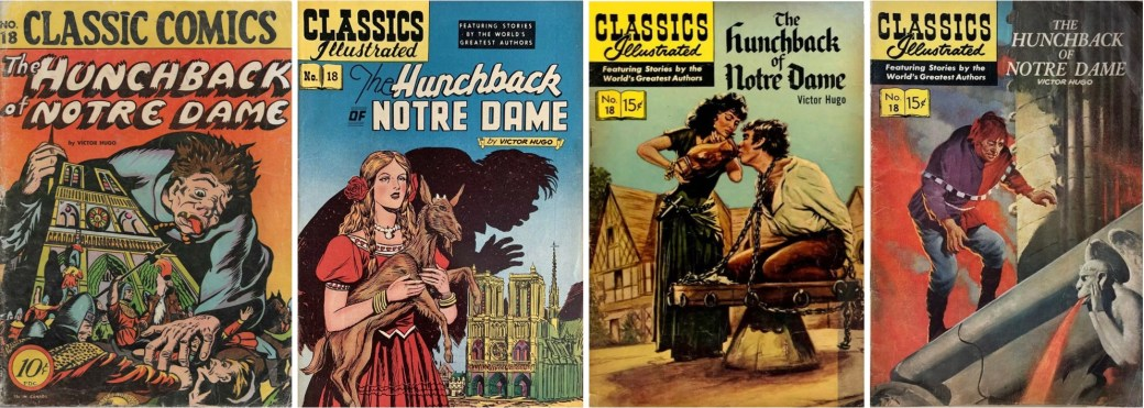 Omslag till Classic Comics #18 (1944), och Classics Illustrated #18 (1949, 1957 och 1960). ©Gilberton