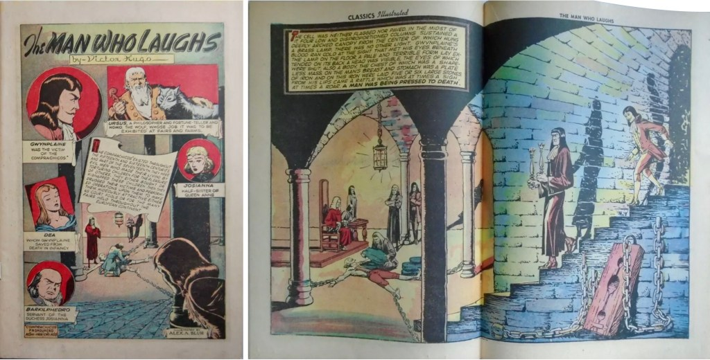 Förstasida och mittuppslag ur Classics Illustrated #71 (1950). ©Gilberton