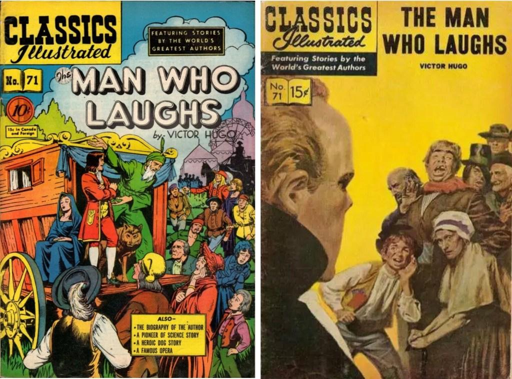 Omslag till Classics Illustrated #71 från 1950 och 1962 (notera att Illustrerade klassiker nr 125 har spegelvänt omslag). ©Gilberton