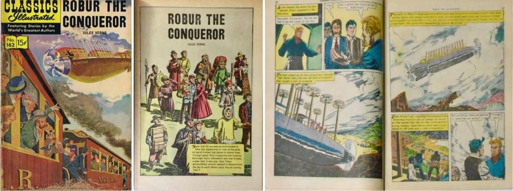 Omslag, förstasida och mittuppslag ur Classics Illustrated #162. ©Gilberton