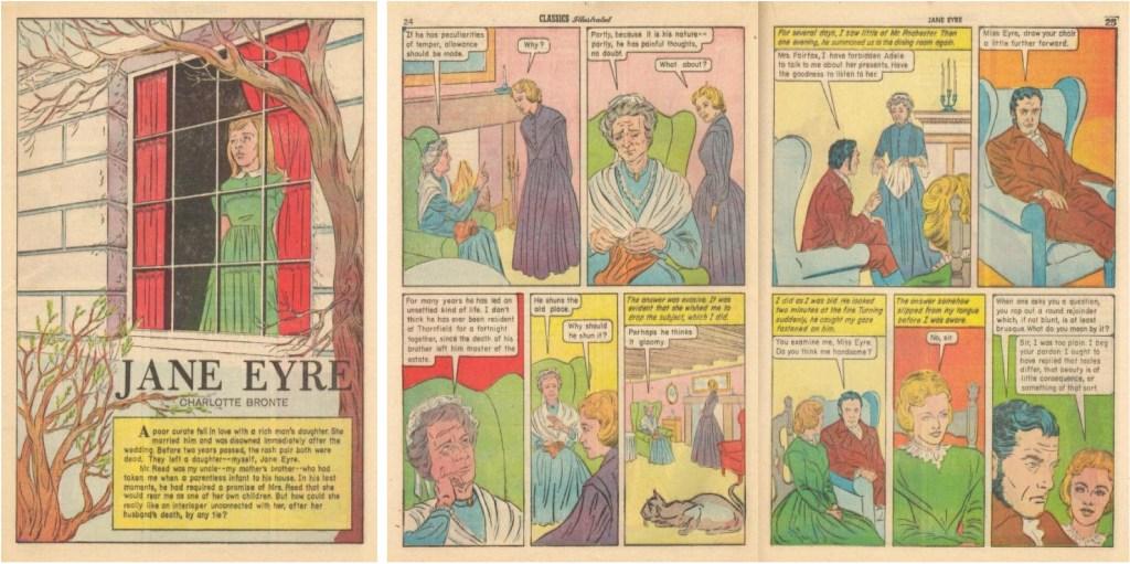Förstasida och mittuppslag ur Classics Illustrated #39 (1962). ©Gilberton
