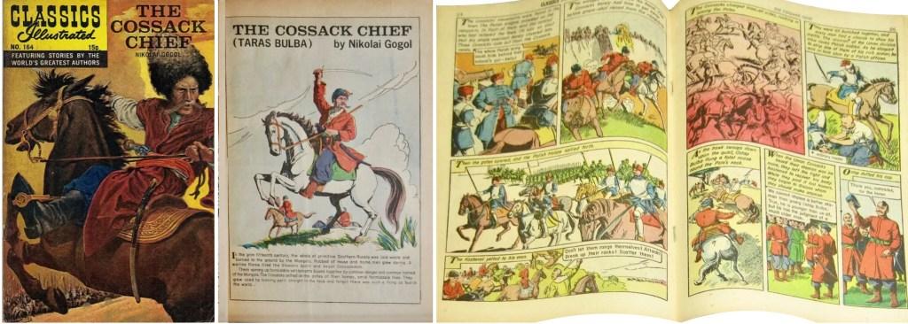 Omslag, förstasida och mittuppslag ur Classics Illustrated #164. ©Gilberton